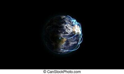 bleu, la terre, connexions, ombragé