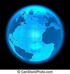 bleu, la terre, incandescent