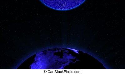 bleu, la terre, lune