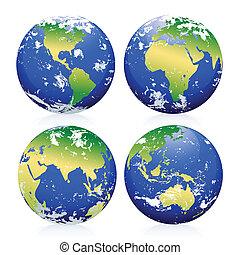 bleu, la terre, marbres
