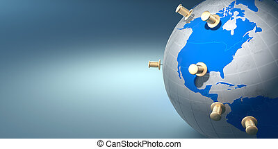 bleu, la terre, punaises, fond