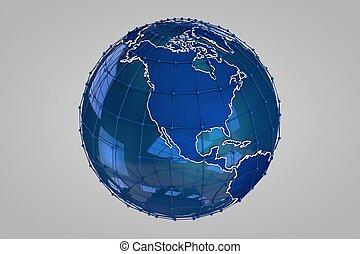 bleu, la terre, render, 3d