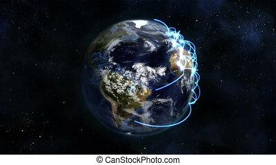 bleu, la terre, tourner, conn, nuageux