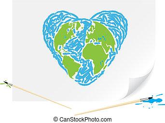 bleu, la terre, vert, dessin, coeur