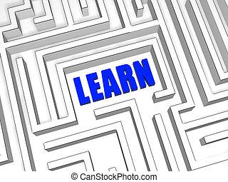 bleu, labyrinthe, apprendre