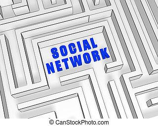 bleu, labyrinthe, réseau, social