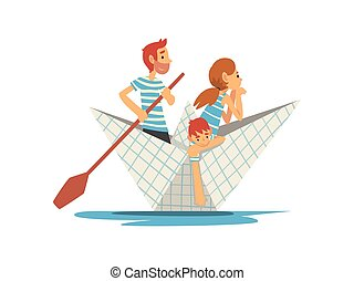 bleu, lac famille, illustration, fils, rivière, canotage, vecteur, rayé, papier, t-shirts, mère, blanc, étang, ou, bateau, père