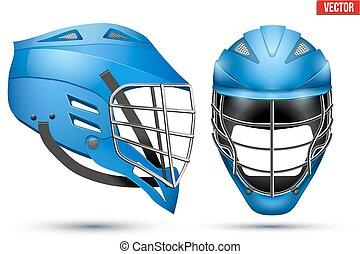 bleu, lacrosse, ensemble, casque