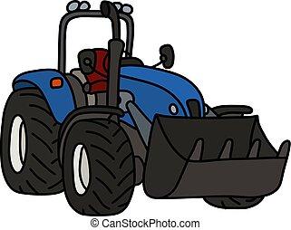 bleu, lame, tracteur