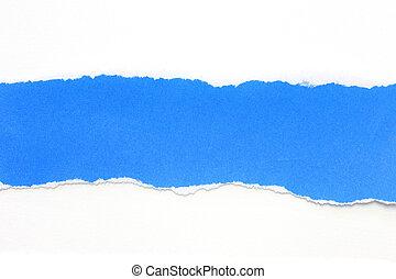 bleu, larmes, papier, fond blanc