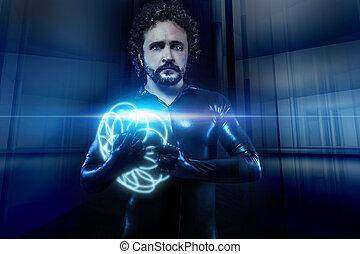 bleu, latex, sphères, science, néon, fantasme, noir, fiction, homme