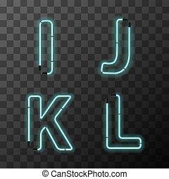 bleu, latin, lettres, vendange, k, j, néon, lettres, l, réaliste, clair, transparent
