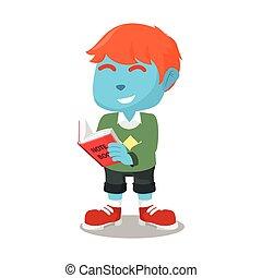 bleu, lecture garçon, livre