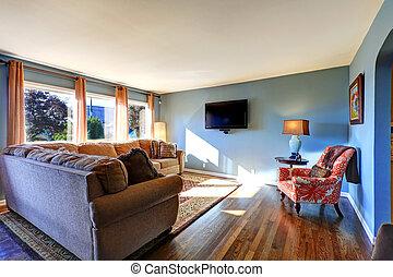 Bleu salle de s jour image mur typon num rique for Salle de sejour bleu