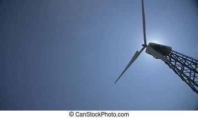 bleu, lent, ciel, fond, turbine, rotation, vent, lames