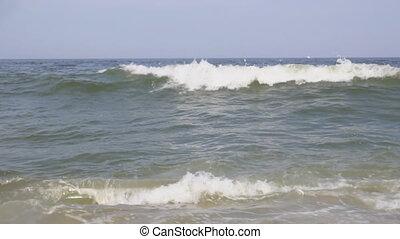 bleu, lent, océan, mouvement, vague, vide, briser