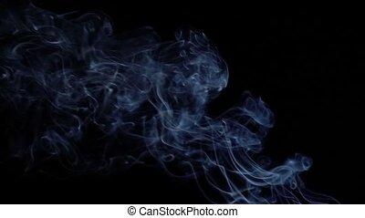 bleu, lent, résumé, mouvement, arrière-plan., fumée noire