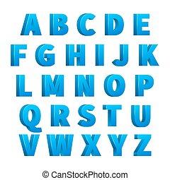bleu, lettrage, alphabet, lettres, glace, caractères, 3d