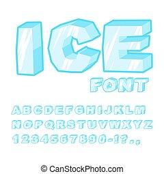 bleu, lettrage, alphabet., surgelé, glace, letters., glacial, font., froid, transparent