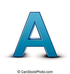 bleu, lettre, 3d