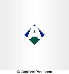 bleu, lettre, symbole, vecteur, vert, flèche, logo, icône