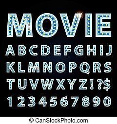 bleu, lettres, cinéma, exposition, néon, theather, lampe, vecteur, police, ou