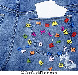 bleu, lettres, coloré, bois, jean, dispersé