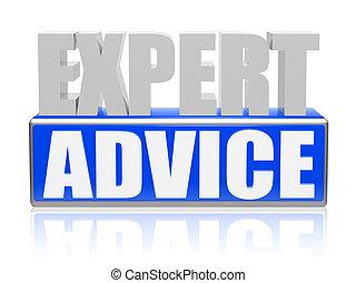 bleu, lettres, expert, -, conseiller, bannière, blanc, bloc