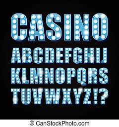 bleu, lettres, exposition, casino, néon, theather, lampe, vecteur, police, ou