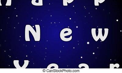 bleu, lettres, nouveau, arrière-plan animation, année, 2019, blanc, heureux