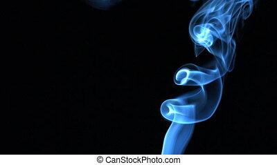 bleu, levée, fumée