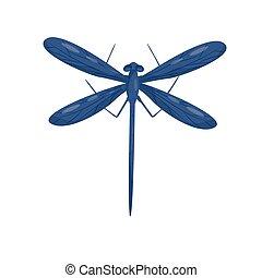 bleu, libellule, paires, plat, grand, voler, corps, deux, long, wings., beau, vecteur, conception, insect.