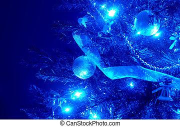 bleu, light., arbre, fond, balle, noël
