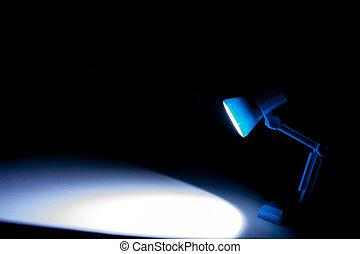 bleu light - Blue desk light isolated on a black background
