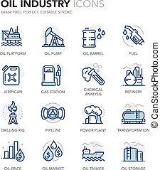bleu, ligne, industrie pétrolière, icônes