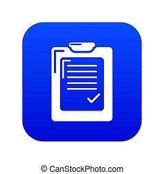 bleu, liste, chèque, icône