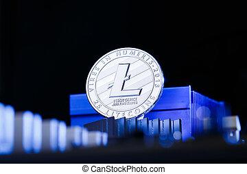 bleu, litecoin, photo, crypto, monnaie, fond, processeur
