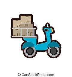 bleu, livraison, scooter, service, jeûne