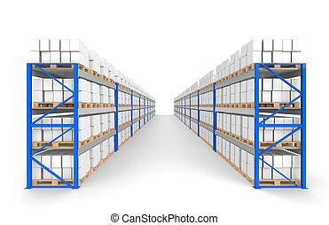bleu, logistique, étagères, série, plancher, shadows., entrepôt, 2, partie, rows.