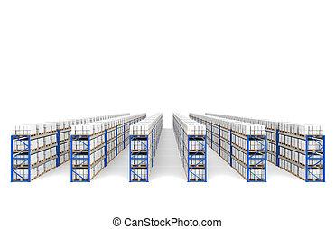 bleu, logistique, étagères, vue dessus, shadows., serie., perspective, entrepôt, x, partie, 60.