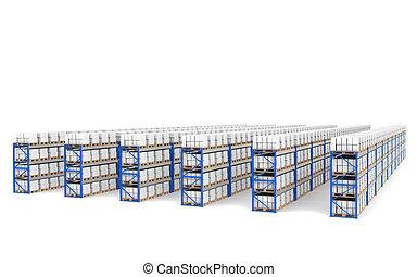 bleu, logistique, series., étagères, vue dessus, shadows., perspective, entrepôt, x, partie, 60.