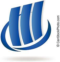 bleu, logo, bâtiments, moderne
