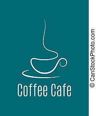 bleu, logo, café, fond, tasse