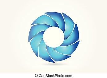bleu, logo, conception abstraite