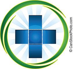 bleu, logo, croix