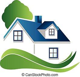 bleu, logo, maison arbre