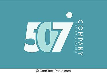 bleu, logo, nombre, conception, 507, cyan, blanc, icône