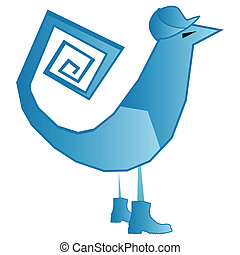 bleu, logo, oiseau