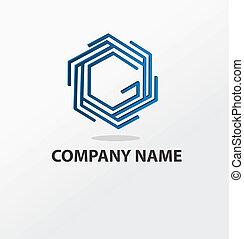 bleu, logo, résumé