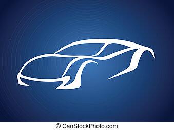 bleu, logo, sur, auto